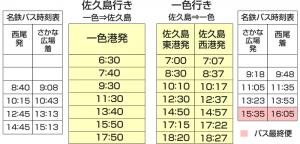佐久島のフェリー時刻表